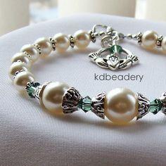 Swarovski Pearl Crystal Bracelet Claddagh by kdbeadery Crystal Bracelets, Bangles, Irish Wedding, Ivory Pearl, Claddagh, Swarovski Pearls, Bead Caps, Gemstone Jewelry, Fashion Jewelry