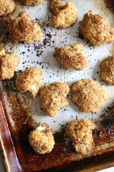 These delicious breaded cauliflower florets are baked in the oven with a parmesan-crumb crust, they remind me of my Moms fried cauliflower I used to love as a kid – without all the frying!