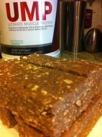 ROCKY ROAD PROTEIN BARS!!!!     Ingredients:   2 cups oats   4 scoops NEW Beverly Rocky Road UMP   1/2 cup Truvia   1T unsweetened cocoa powder   1/2 cup almond butter   3/4 water   1/2 cup Walden Farm's Marshmallow Cream   1/4 cup chopped walnuts (or any nuts of your choice)