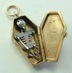 1950's 9ct Gold Opening Coffin Charm Skeleton Inside