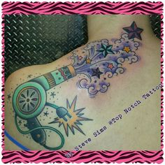 By Steve Sims at Top Notch Tattoo, Elgin IL Blowdryer, Stars, Cosmetology, Hair, Ink,
