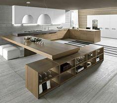 küche design große arbeitsfläche holz hocker