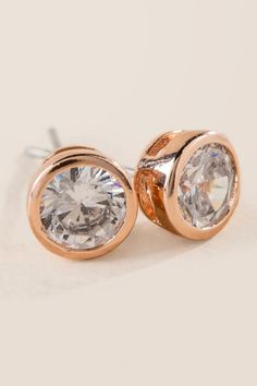 Natalie Cubic Zirconia Stud Earring In Rose Gold