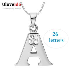 Find More Pendant Necklaces Information about 26 Letters Necklace A B C D E F G H I J K L M N O P Q I S T U V W X Y Z  Necklaces for Men/Women Rose Gold Plated Uloveido N958 ,High Quality necklace chunky,China necklace male Suppliers, Cheap necklace elephant from D&C Fashion Jewelry Buy to Get a Free Gift on Aliexpress.com