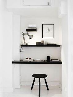 black and white home office, nook, shelves Office Nook, Office Workspace, Small Workspace, Desk Nook, Office Spaces, Closet Office, Corner Office, Closet Nook, Office Bookshelves