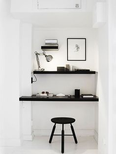 Home office branco e preto
