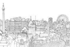 Trafalgar Square Panorama by Abigail Daker, via Behance