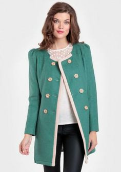 Green coat with cream border lining