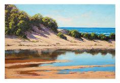 Dunas de arena de playa pintura Original arte de pared de aceite por el artista australiano G. Gercken