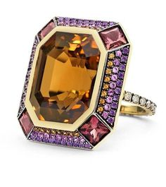 @coloradogemlabs.  Lauren Adriana Ziggurat ring in yellow gold, set with an octagonal mixed cut citrine within a rhodolite, spessartite, amethyst and sapphires border leading to a brilliant-cut diamond pavé set shank.