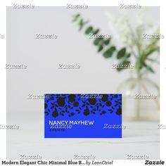 Shop Modern Elegant Chic Minimal Blue Black Floral Business Card created by LeonOziel. Elegant Chic, Business Cards, Card Stock, Minimalism, Stationery, Things To Come, Floral, Modern, Prints