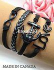 Womens Charm Bracelet Infinity Love Anchor Black Velvet Black Leather Braid K800