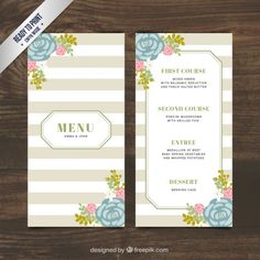 Wedding menu with flowers and striped Free Vector