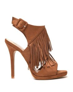 Sandales à talons camel effet suédine ouvertes avec franges