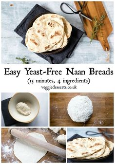 These yeast-free easy naan bread recipe is so quick! They're light, fluffy a… These yeast-free easy naan bread recipe is so quick! They're light, fluffy and ready in just 15 minutes with 4 ingredients. Quick Naan Bread Recipe, Recipes With Naan Bread, Naan Recipe, Easy Healthy Bread Recipe, Vegetarian Recipes, Cooking Recipes, Microwave Recipes, Vegetable Recipes, Cookies