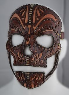 Leather Day of the Dead mask from www.scared-of-my-shadow.com.