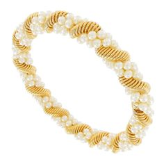 Bangle Bracelet Double Faux Pearl Beaded Twisted Metal Coil Gold Tone