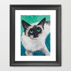 Matilda Framed Art Print by Mike Brennan - $35.00 #Cat #feline #art #watercolor #pet #print