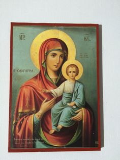 Our Lady Theotokos Mother Of God - handmade orthodox byzantine icon Byzantine Icons, Mother Mary, Our Lady, Christian, Etsy Shop, Baby Jesus, Handmade Gifts, Painting, Ebay