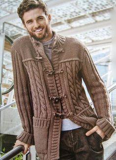 Men's Hand Knitted Cardigan XS,S,M,L,XL,XXL jacket Wool Hand Knit sweater 18 #Handmade #Cardigan