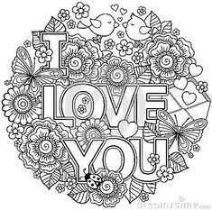 Vector Coloring page for adult. Round shape made of Abstract flowers, butterflies, birds kissing and the word love. Printable Flower Coloring Pages, Valentine Coloring Pages, Heart Coloring Pages, Colouring Pages, Coloring Books, Adult Coloring Book Pages, Doodle Coloring, Coloring Sheets, Abstract Coloring Pages