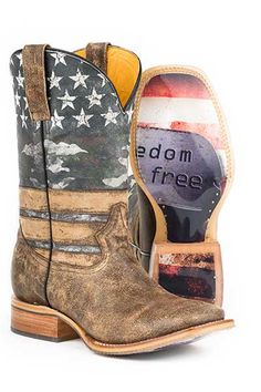 """Tin Haul """"Freedom isn't Free"""" Dog Tags Cowboy Boots - HeadWest Outfitters"""