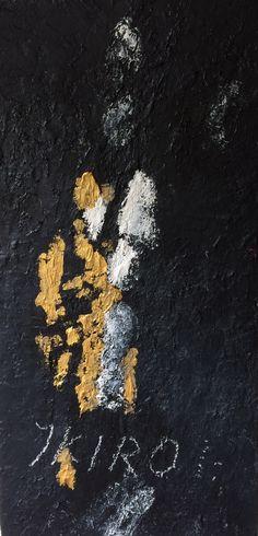 Ikiro  Nu met gouden voetstappen Goud is de eeuwigheid Olieverf op linnen door Jooo