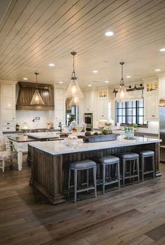 Farmhouse Kitchen Flooring: The floors are engineered wood with a silvered wash. - Farmhouse Kitchen Flooring: The floors are engineered wood with a silvered wash. The flooring is fr - Farmhouse Kitchen Decor, House Design, Dream Kitchen, Kitchen Flooring, Home, Kitchen Remodel, Interior Design Kitchen, Farmhouse Kitchen Island, Kitchen Design