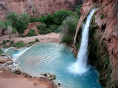 """Havasupai! Yes, that's in Arizona! Hike through exotic and lush scenery, including one of Outside Magazine's """"One of the Top Ten Day Hikes in the US""""  Cool off in Havasu Falls' 100-foot thundering falls and relax in mineral-rich whirlpools."""