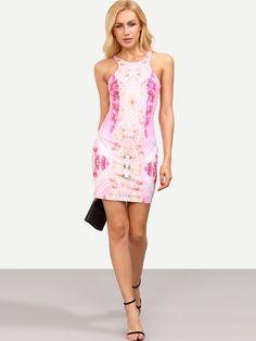 Vestido floral entallado-(Sheinside)