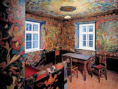 Inside the house of graphic artist and painter Josef Váchal, Litomysl, Czech republic. Prague, Cottage Art, Facade House, Czech Republic, House Painting, Installation Art, Painted Furniture, Sweet Home, Museum