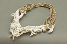 Necklace 2010. Herend Porcelain, hemp rope – Hildur Ýr Jónsdóttir.