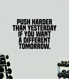 Push Harder than Yesterday V2 Wall Decal Home Decor Bedroom Room Vinyl Sticker Art Teen Work Out Quote Gym Girls Train Fitness Lift Strong Inspirational Motivational Health - purple