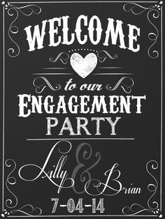 Custom engagement party sign custom by CustomPrintablesNY on Etsy