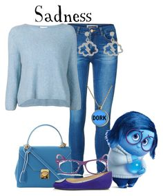 """""""Sadness // Disney's Inside Out"""" by glitterbug152 ❤ liked on Polyvore featuring Vero Moda, 3.1 Phillip Lim, Mark Cross, Ray-Ban, Karen Walker, Jimmy Choo, Sadness, disney, insideout and allegrabounds"""