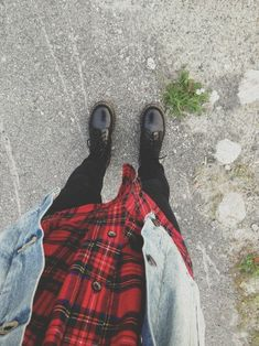 flannel, denim jacket, black jeans, black boots