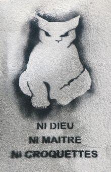 Graff chat sur un mur de Montmartre .