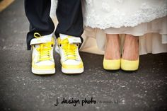 our shoes - yellow nikes & pumps