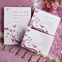 elegant red butterfly wedding invitations with free response cards EWI081 |