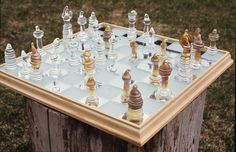 glass chess set, clear pyrex,with silver nitrate surface treatment Glass Chess Set, Pyrex, Stained Glass, Surface, Silver, Money, Stained Glass Windows, Stained Glass Panels, Colored Glass