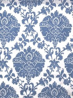 Stroheim Fabric - 1085A Iman II HANDPR - S0510 Sky - $81.75 Per Yard #interiors #decor #home #design #damask #floral #blue #white #pattern #pillows #drapery #curtains #living #room #bedroom