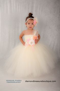 Ivory, pink and peach tutu dress/ flower girl dress/ Easter dress. Now available at www.diamondtreasureboutique.com Girls Easter Dresses, Flower Girl Dresses, My Beautiful Daughter, Tutu, Modeling, Dream Wedding, Peach, Ivory, Boutique
