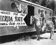 Roy Rogers and his horse, Trigger, next to horse trailer, advertising Florida State Fair : Tampa, Fla. Vintage Florida, Old Florida, Florida State Fair, Dale Evans, Old Movie Stars, Roy Rogers, Old Shows, Old Love, Horse Trailers