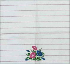 Vintage Cotton Tea Towel Red Stripes on White Morning Glories Mint