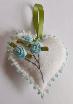 Craft Fairy Designs: White Felt Heart  with Blue Ribbon Roses