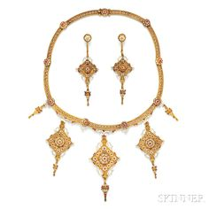 Renaissance Revival Gold, Enamel, and Seed Pearl Suite, the necklace designed as a hinged collar with removable kite-shape drops and urn motifs with red and white enamel, earpendants en suite.