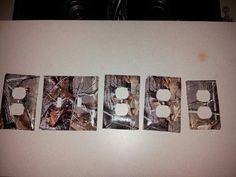 Diy Camo switch and plug plates! Scrapbook paper &  modge podge