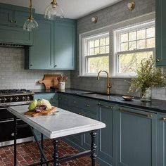 Marble Subway Tiles with Green Blue Shaker Cabinets - Transitional - Kitchen