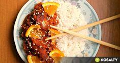 Kínai narancsos csirke recept képpel. Hozzávalók és az elkészítés részletes leírása. A kínai narancsos csirke elkészítési ideje: 70 perc Chinese Vegetables, China Food, Chinese Chicken, Viera, Food Preparation, Wok, Meat Recipes, Bacon, Food And Drink