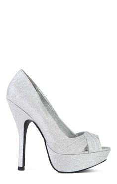 SugarPair Silver Open Toe Glitter Platform Pump with Front Pleats $25.20